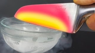 EXPERIMENT Glowing 1000 degree KNIFE VS LIQUID NITROGEN