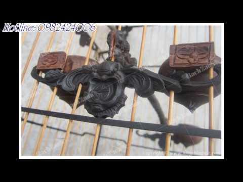 Lồng Chim Huế Chạm Ngũ Phúc Kim Tiền Gỗ Mun - 30102