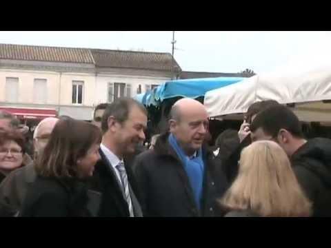Alain Juppé au marché de Léognan