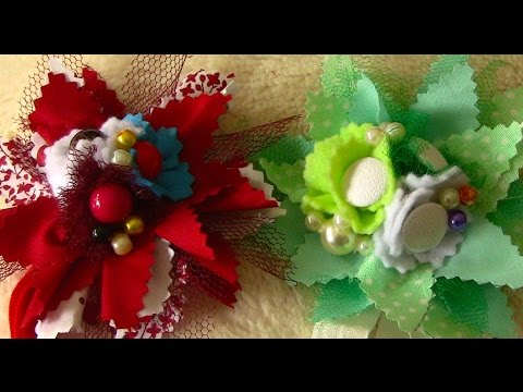 Tiara com flores em tecido com cortes zic-zac Passo a Passo