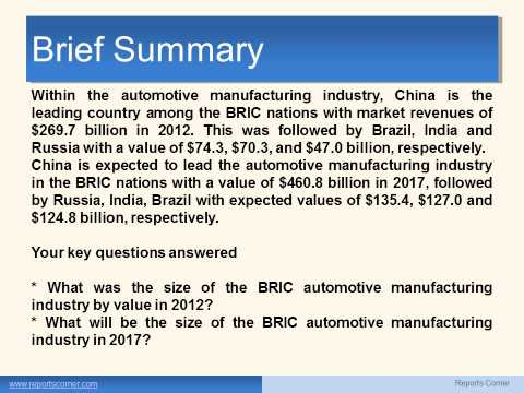 Automotive Manufacturing   BRIC Brazil, Russia, India, China Industry Guide - ReportsCorner