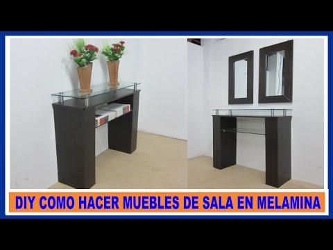 Como hacer muebles de melamina para sala  recibidor / How to make living room furniture melamine