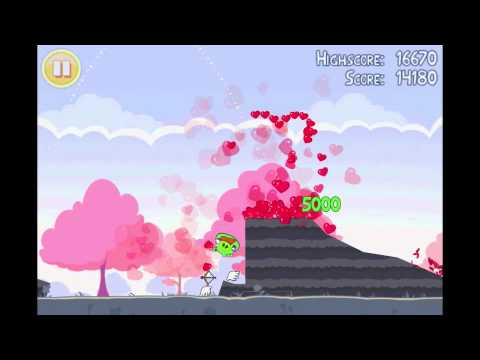 Angry Birds Seasons Hogs and Kisses Heart Level Walkthrough