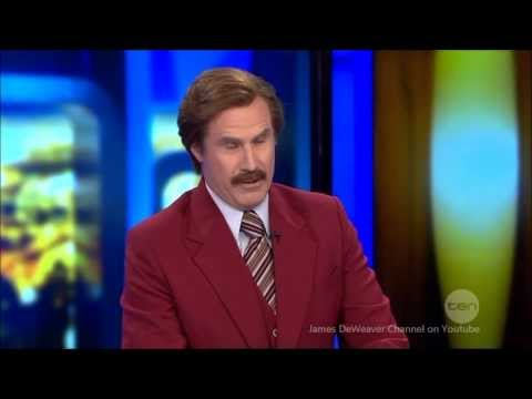 Anchorman Ron Burgundy : LIVE Australian Tv Interview and Reporting 25-11-2013