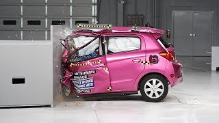 2014 Mitsubishi Mirage small overlap IIHS crash test