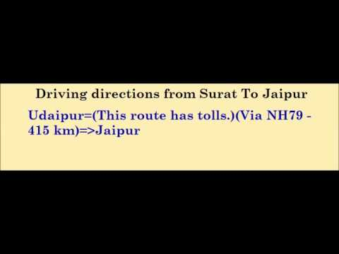 Tourism - Driving directions from Surat To Jaipur