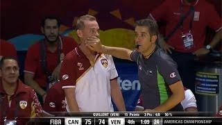 El arbitro le tapa la boca al D. T.