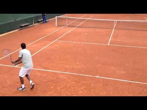 Gael Monfils' practicing on day 4 at French Open 2014