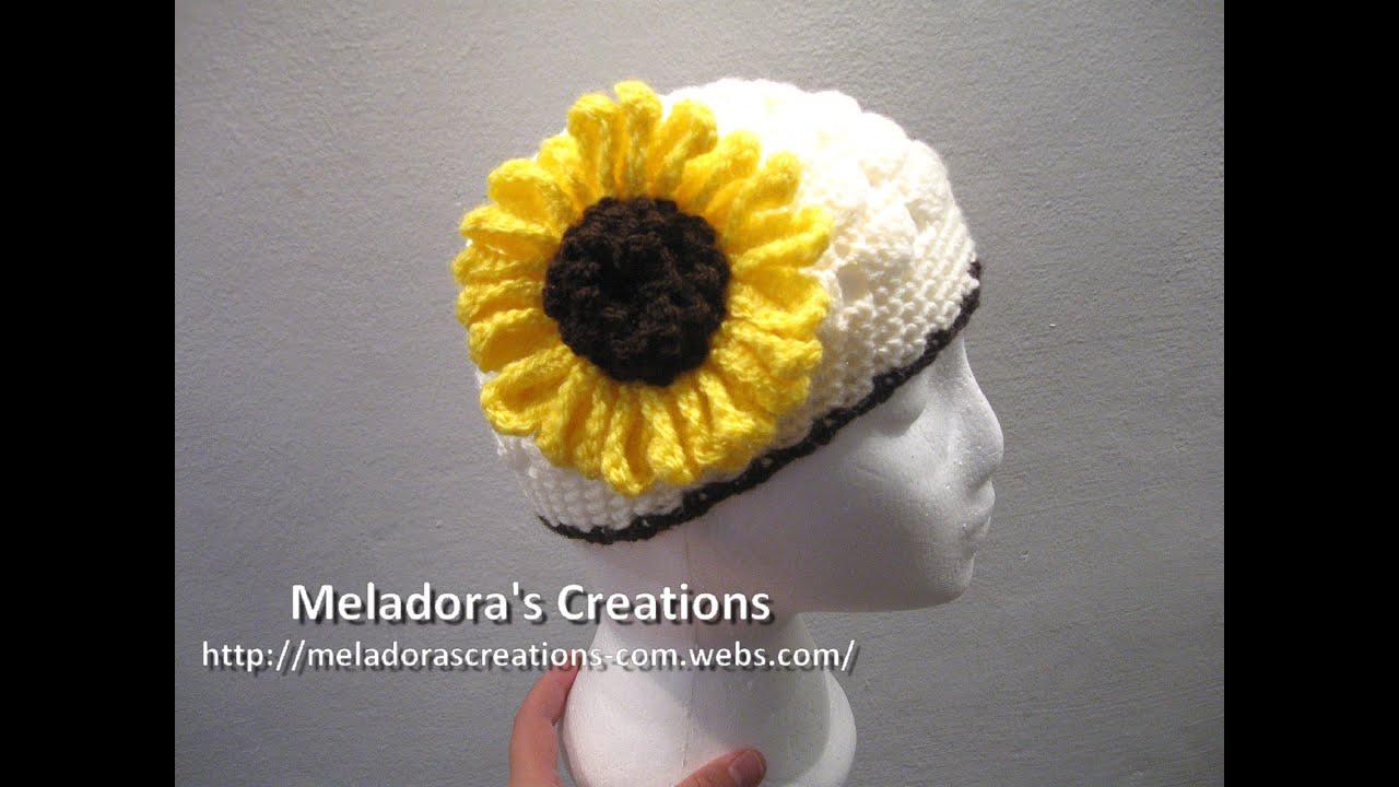 Sunflower Crochet Baby Hat Pattern : Crocheted Sunflower Crochet Tutorial - YouTube