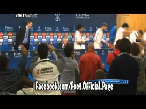 Real Madrid`s Player Celebrate on Carlo Ancelotti Press-Conference after match