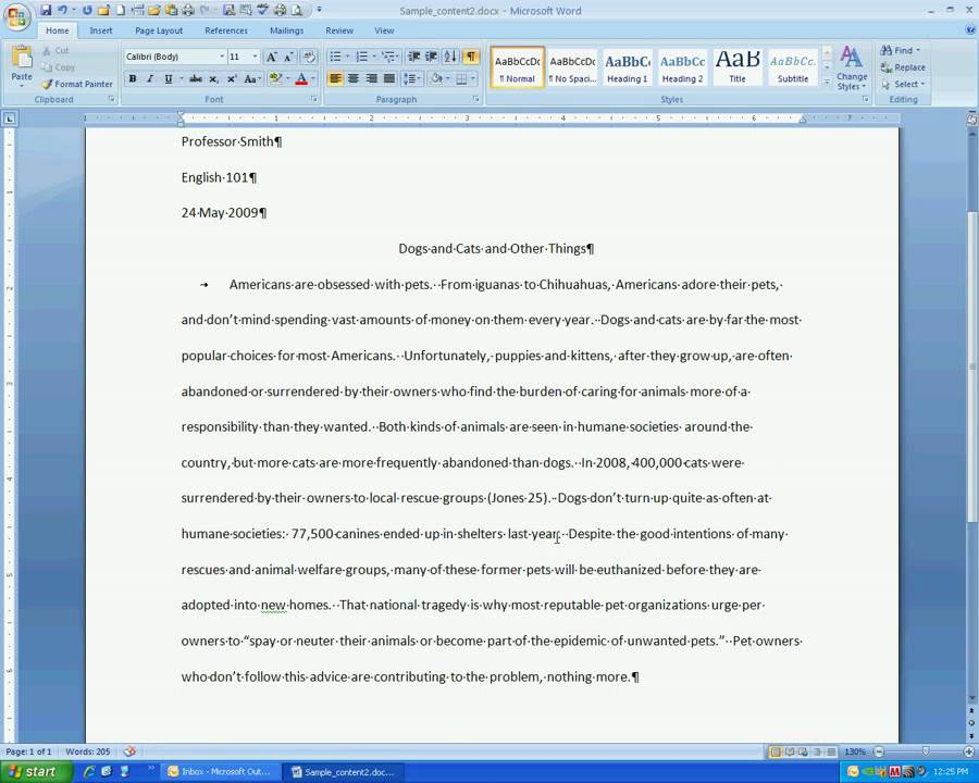 Proper Mla Format For Essays