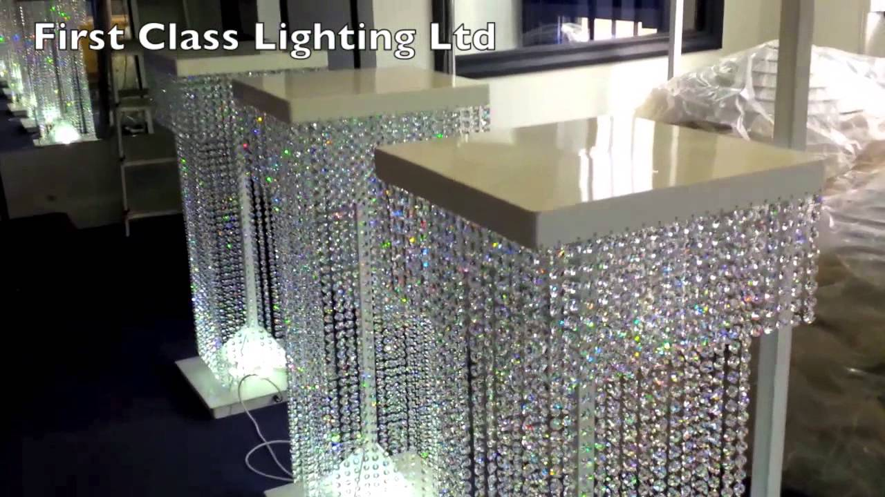 Led Custom Bespoke Crystal Wedding Pillars Chandelier By