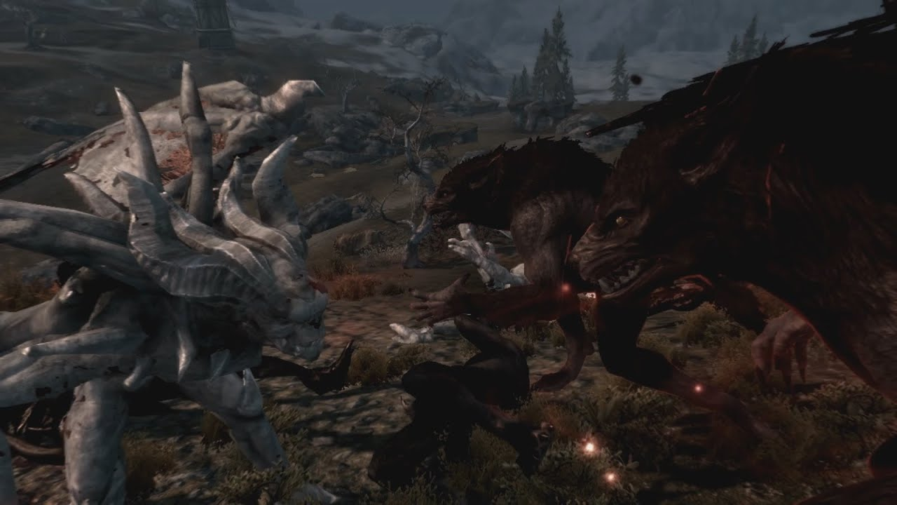 Skyrim Werewolf Vs Vampire Lord Fight