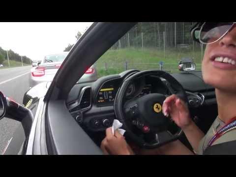 Swedish girl in a Ferrari 458 Italia (Sophie) on Polish roads