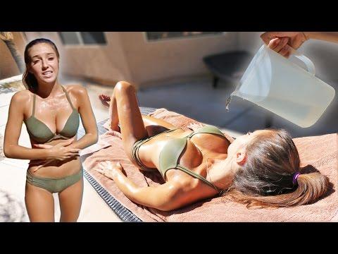 ICE WATER PRANK ON TANNING GIRLFRIEND!