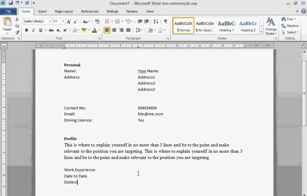 how to make a cv in word insssrenterprisesco - Making Resume In Word