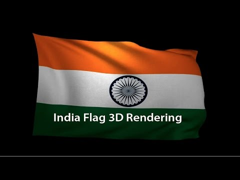 3D Rendering of the flag of India waving in the wind.