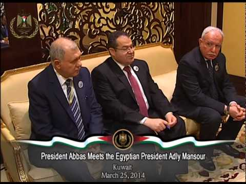 President Abbas Meets the Egyptian President Adly Mansour