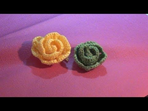 Hướng dẫn móc hoa len - Mẫu hoa hồng (Subtitles English)