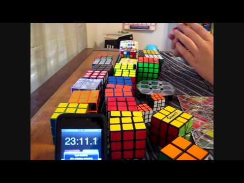 Solving All My cubes - Time Lapse