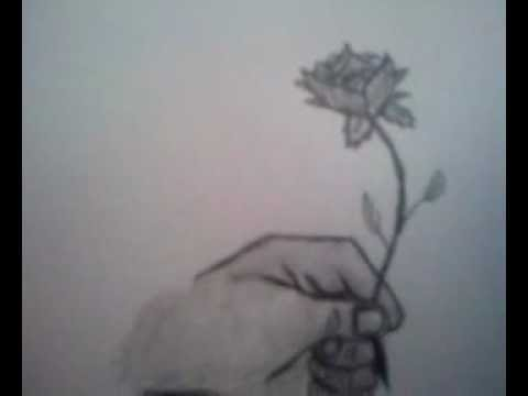 How to draw a hand holding a rose youtube for Hand holding a rose drawing