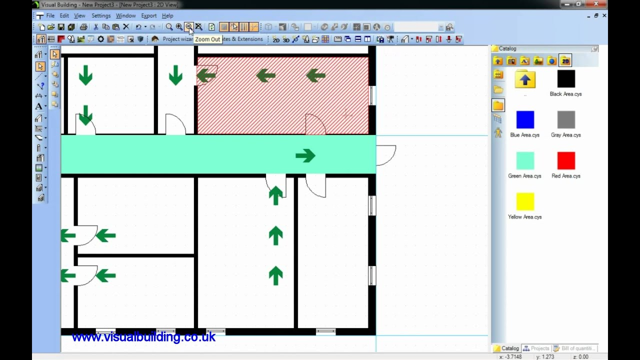 Visual building tutorial creating a fire escape plan for Creation plan