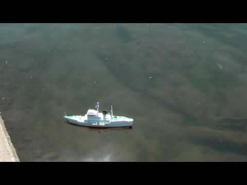 MY home made RC ship, No.35 meiden voyage in AKIKAWA riv. May 1st 2010