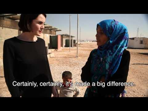 Downton Abbey's Michelle Dockery meets Syrian refugees in Jordan