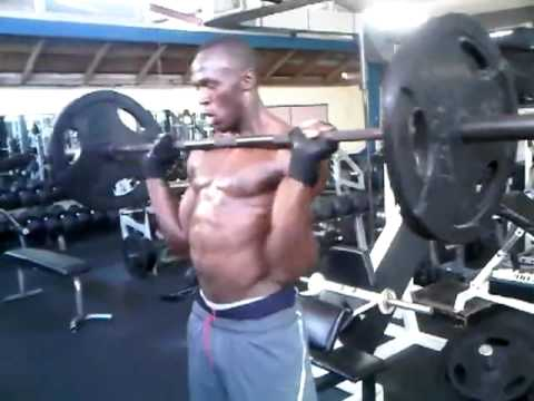 The fastest man in the world Usain Bolt works out at the Gym