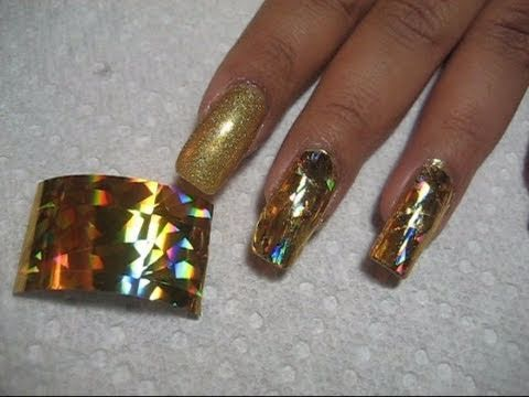 Holographic Gold Foil Application Youtube Nail Designs Video