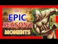 TOP 5 epic Attack on Titan season 2 moments HD