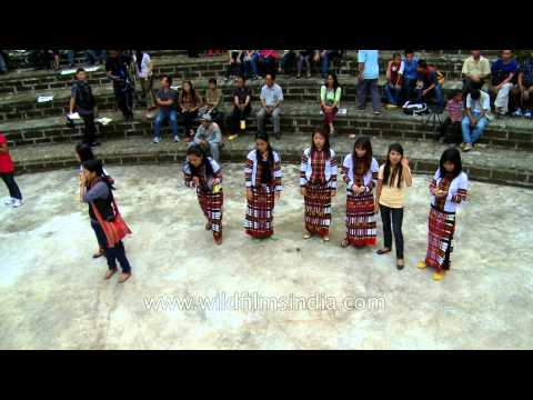 Mizo girls enjoy playing indigenous during the Anthurium Festival