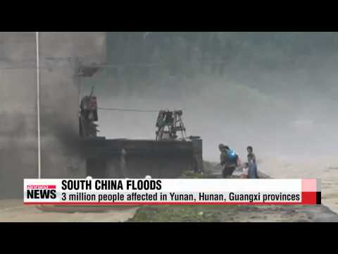3 million people affected by flooding in southern China