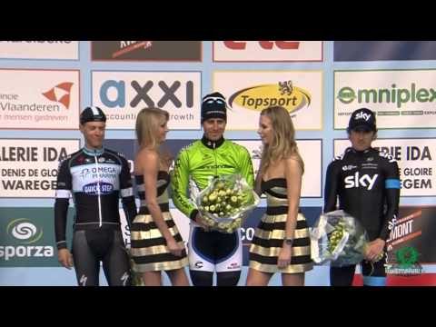 E3 Harelbeke 2014 - Peter Sagan - podium girl warns Peter