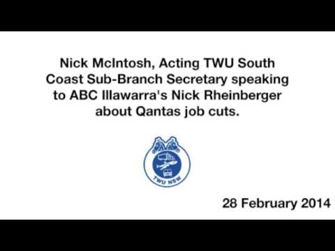 TWU's Nick McIntosh talks about the Qantas job cuts