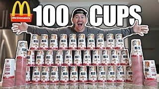 100 MCDONALD'S CUPS EXPERIMENT!! *MONOPOLY JACKPOT CHALLENGE*