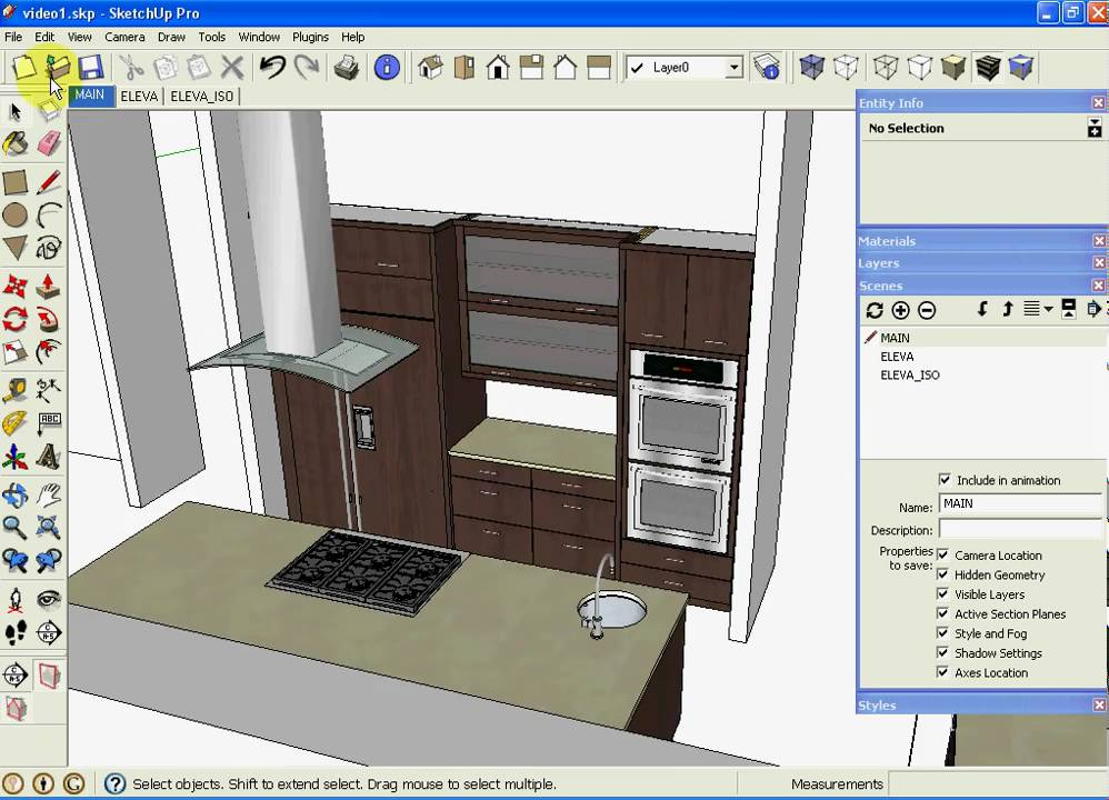 Sketchup kitchen design using dynamic component cabinets part 3 of 3 youtube Kitchen design software google sketchup