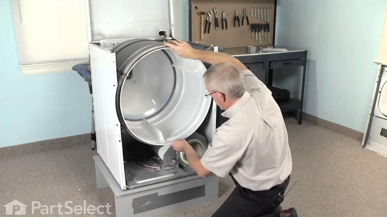 Dryer Installation Service : Dryer repair replacing the multi rib belt whirlpool