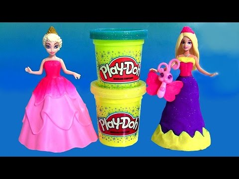Barbie Princess Power Dress-up MagiClip with Disney Frozen Princess Anna Elsa Magic Clip Dress