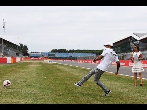 Lewis Hamilton takes on the penalty challenge (Sky Sports F1 - 2014 British Grand Prix)