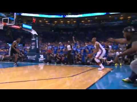 Hasheem Thabeet Answers Caron Butler s Phone Call after a 3 Pointer   Spurs vs Thunder   Game 3
