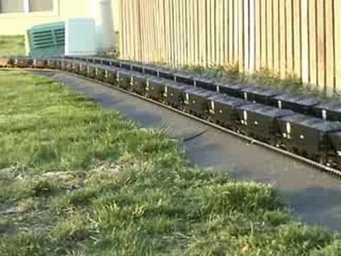 Garden Railroad - 100ft coal trains x 2 - Video 1