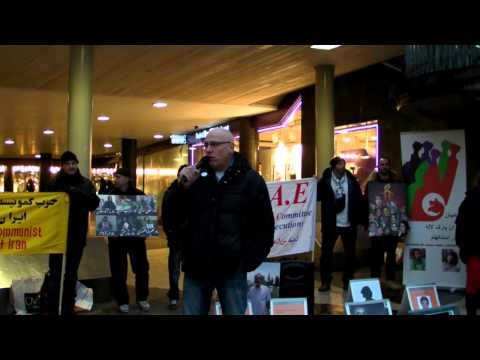 Protest against Carl Bildt's visit to Iran