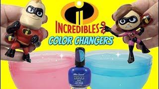 DIY THE INCREDIBLES 2 Toys Color Change Nail Polish with Mr. Incredible VS Baby Jack Jack