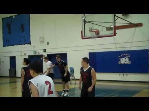 Basketball Scrimmage game with Hand on Rim Arc Shooter