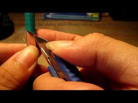 Cách khắc thân bút chì - kiểu nghiêng 1 mặt (chữ LOVE)