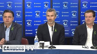 Travis Green, Trevor Linden & Jim Benning End of Season Media Availability (Apr. 09, 2018)