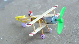 How to make Aeroplane with DC motor - [ wooden plane ]