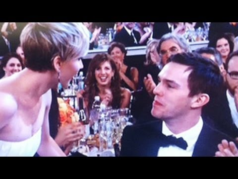 Jennifer Lawrence & Nicholas Hoult Kiss Each Other At Golden Globe Awards 2014