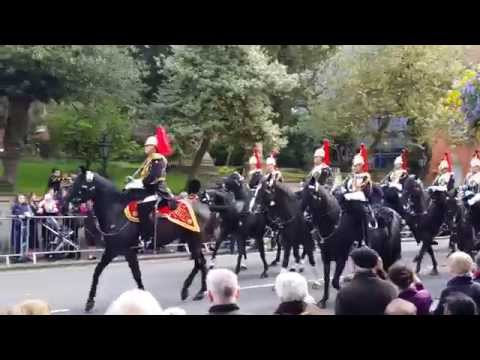 Irish President State Visit to the UK -Blues & Royals go to greet cortege.